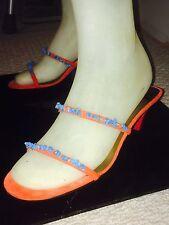 """Emanuel Ungaro Beaded Red Suede Designer Sandals 2.5"""" Pink Heels Turquoise Beads"""