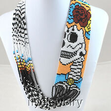 Pleasing! Hand Seed Bead Blue/ yellow/White  Beaded Skull Necklacet