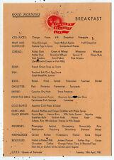 1961 SS QUEEN OF BERMUDA Furness Line CRUISE SHIP Breakfast Menu OCEAN LINER Bda