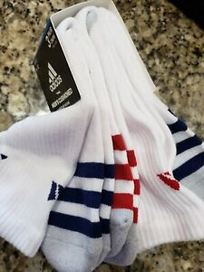 ADIDAS MEN WHITE BLUE RED STRIPES FULL CREW CUSHIONED SOCKS 3 PAIRS POLY $14 NIP