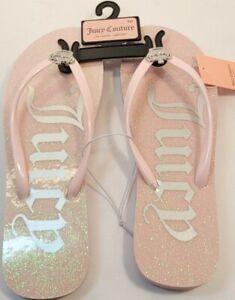 Juicy Couture Selene pink flip flop sandals size 8M Blush Glitter WJ03644W