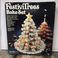 VINTAGE FOX RUN FESTIVITREES TREE COOKIES Bake Set With Guide Christmas Baking