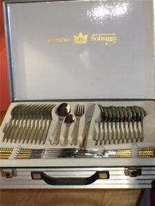 Vintage SBS Bestecke Soligen 70 Piece Berlin 4520 Cutlery Service Gold & Steel