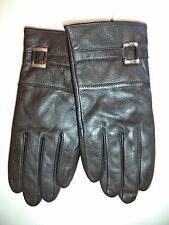 Ladies Genuine Leather, Silver Buckle Gloves,Large, Black