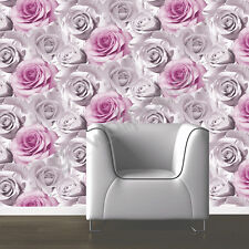 Muriva Madison Pink Wallpaper Rose Flower Floral