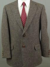 Harris Tweed Men 42R Wool Brown Blue Two Button Blazer Sportcoat Jacket