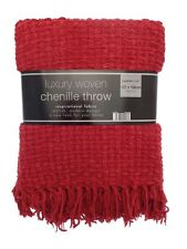 Luxury Basket Weave Soft Touch Chenille Woven Fringed Throw 127cm x 152cm