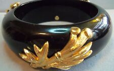 Monet Large Heavy Black Lucite Bangle Bracelet Gold leaf Accents Fabulous 91gram