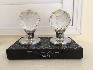 TAHARI HOME Set of 2 DOOR KNOBS Pull Mirror Crystal Glass Diamond Design New Box