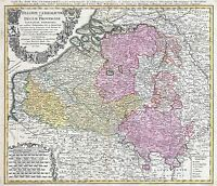 MAP ANTIQUE HOMANN 1747 BELGIUM LUXEMBOURG OLD LARGE REPRO POSTER PRINT PAM0934