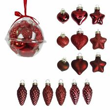 Pack 15 Mini Glass Ornament Baubles Christmas Tree Decoration - Red