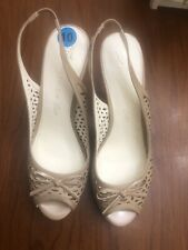 NWOB Anne Klein iflex Women Size 10M Tan Sling Back Platform Heels shoes