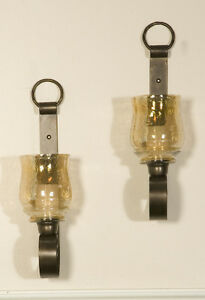 """TUSCAN WESTERN ANTIQUE BRONZE GLASS JOSELYN HURRICANE WALL SCONCES 18""""H, S/2"""