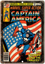 """Marvel Captain America Comic Book Cover 10"""" x 7"""" Reproduction Metal Sign J705"""