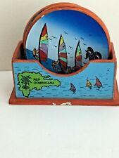 Rep Dominicana 4 Coasters & Holder Set Collectible Barware Souvenir Nautical