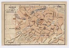 1919 ORIGINAL ANTIQUE CITY MAP OF ARRAS / PAS-DE-CALAIS / FRANCE