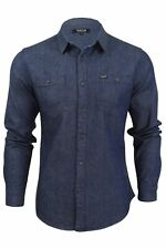 Mens Denim Shirt by Firetrap Western Vintage Wash Long Sleeve
