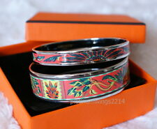 NIB Authentic Hermes Printed Enamel Bracelet Set Coral Red Brazil Gold Bangle 65
