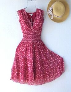 New~$118~Red Ditsy Floral Peasant Tiered Smocked Summer Boho Dress~Size Large L
