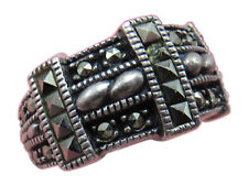 Judith Jack Sterling Silver Wide Band Ring Marcasite Size 5 Designer Jewelry 14h