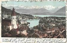 THOUNE ET LES ALPES INTERLAKEN SWITZERLAND TO USA HOTEL CHURCH POSTCARD 1906