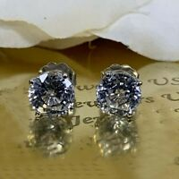 4Ct Round Gorgeous Cut Moissanite Solitaire Stud Earrings 14K White Gold