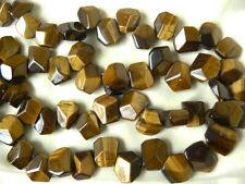 Tiger Eye Gemstone Beads Focal beads faceted freeform 28- beads total