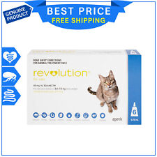 Revolution BLUE for Cats 2.6 to 7.5 Kg 6 Pipettes Flea Heartworm Worm Prevention