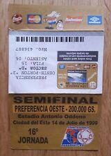 TICKET SEMI FINALE BRASILE V Messico 1999 COPA AMERICA in Paraguay. 14 LUGLIO 1999.