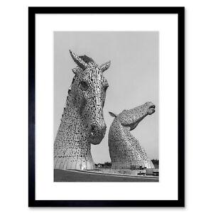 Kelpies Horse Sculptures Falkirk Scotland Framed Wall Art Print 9x7 Inch
