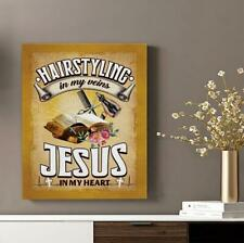 Hairstyling In My Veins - Jesus In My Heart Wall Art Canvas Framed Hanging 2020