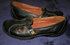 New Hotter England Women US sz 10 black leather comfort cushioned insole t strap