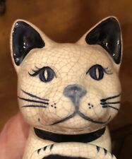 """Potting Shed Dedham Pottery Laying Edge Cat 5"""" Tall 9"""" Long Blue Painted Face"""