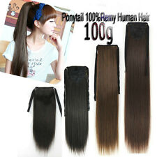 100g Full Head Clip In Real Human Hair Extensions Ribbon Ponytail One Hairpieces