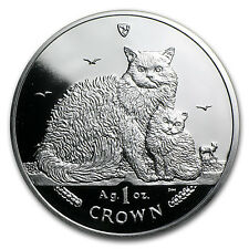 1991 Isle of Man 1 oz Silver Norwegian Cat Proof SKU #80815