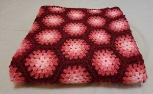 Vintage Crochet Afgan Blanket Throw Handmade Pink Rose Burgundy  50x68 EXCELLENT