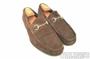 GUCCI Solid Brown Suede Mens Bit Loafer Dress Shoes - EU 44.5 / US 11.5 E
