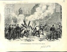 Guerre Civile Défense de Paris Guillotine Brulée Gardes Nationaux GRAVURE 1871