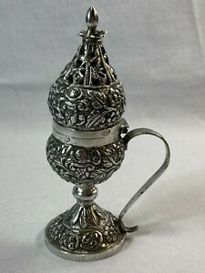 Rare North African Tunisian Solid Silver Repousse Pierced Incense Container Box