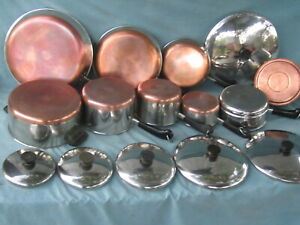 VINTAGE REVERE WARE STAINLESS STEEL COPPER BOTTOM COOKWARE- FREE SHIPPING
