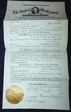 1933 Extradition Papers Washington to Utah Allen Burnett  GOVERNOR SIGNED Legal