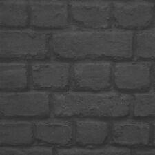 Negro Carbón Papel Pintado Efecto Ladrillo - Rasch 226744 - NUEVO