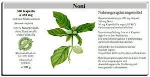 Noni - 300 Kapseln á 450 mg, 100 % vegan - morinda citrifolia - 135 g