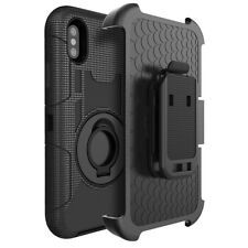 FOR APPLE IPHONE X 10 BLACK EXTREME TRAC ARMOR RUGGED CASE COVER HOLSTER