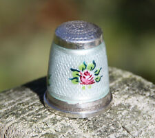 Fingerhut antik Silber 935 Sterling Emaille  Beau Dé à Coudre Blumendecor ROSES