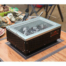 "16"" Mini Charcoal BBQ Barbecue Smoker Portable Camping Picnic Outdoor Grill Blk"