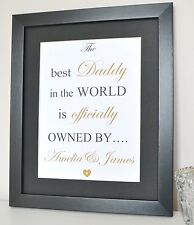 Personalised Daddy Dad Gift Present Print Framed Best Daddy In The World