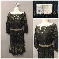Vintage Black Mix Pleated Retro Dress