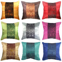 SILK DECORATIVE THROW PILLOW CASE CUSHION COVER FLORAL FOR SOFA COUCH BED 16x16