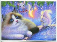 ACEO RAG DOLL SIAMESE CAT WHITE SQUIRREL MOUSE WISTERIA GARDEN FOUNTAIN PRINT